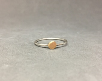 Sterling silver stacking ring 14k gold dot silver and gold ring stackers