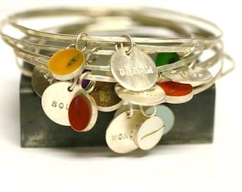 Custom Bangle Charm Bracelet, personalized, Bridesmaid Gift, memory bracelet, Custom Date, Initial, Name, Mother's Day, stacking bracelet
