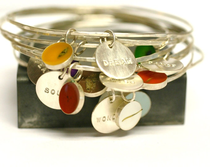 Featured listing image: Custom Bangle Charm Bracelet, personalized, Bridesmaid Gift, memory bracelet, Custom Date, Initial, Name, Mother's Day, stacking bracelet