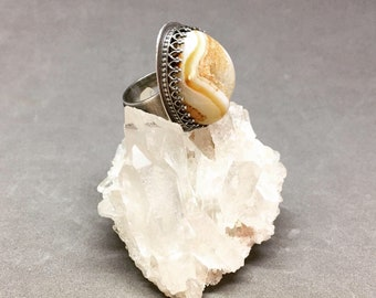 Druzy agate ring druzy ring statement ring art jewelry amber druzy