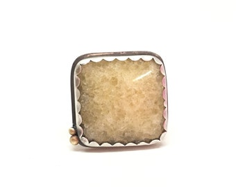 Yellow calcite ring sterling silver square ring