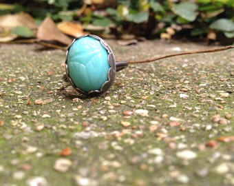 Aqua blue Scarab Ring, vintage scarab, sterling silver scarab ring, aqua blue scarab, vintage glass scarab ring, robins egg blue ring