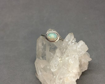 Opal stacking ring sterling silver ring opal stacker silver stacker October birthstone ring opal ring