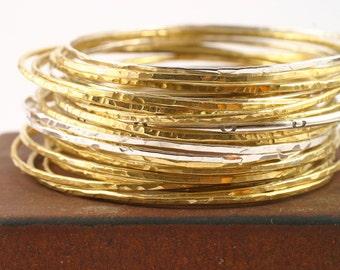 Big Set of Silver and Brass Bangles silver bangle sterling silver bangles mixed metal bangle brass bangles, hammered bangles, set of bangles