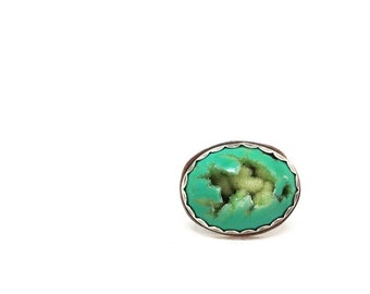 Green druzy ring statement ring