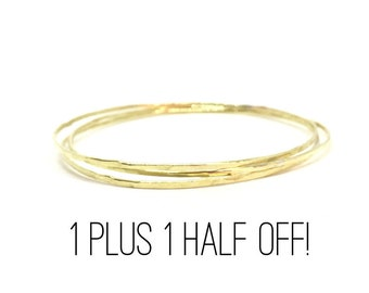 14k Gold Bangle Bracelet SPECIAL - Buy one and includes 2nd at HALF PRICE!