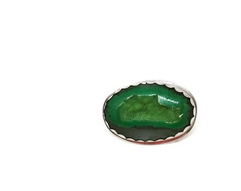 Green druzy ring druzy ring statement ring green ring druzy