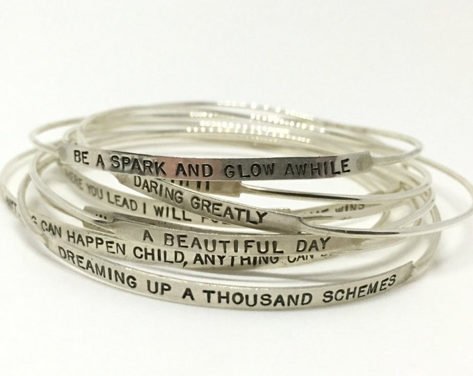 Featured listing image: Silver Bangle Bracelet, Graduation gift, Custom Bangle Bracelet, grad gift, silver bangle, oh the places you'll go,  personalized bangle