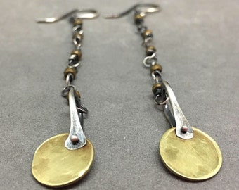 Dangle earrings drop earrings hematite earrings brass earrings star earrings