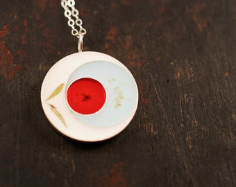 White, Robin's Egg Blue, and Red Resin Necklace