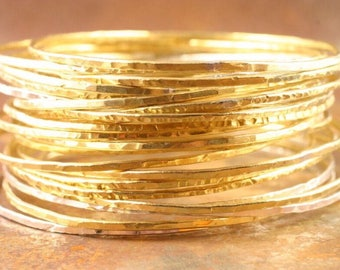 Brass Bangles Set of 5, brass bangles, bangle, hammered brass bangles, stacking bangle bracelets