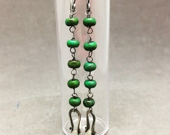 Turquoise and jade drop earrings dangle turquoise earrings sterling silver turquoise earrings