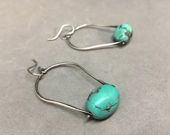 Chunky turquoise earrings swinging earrings turquoise earrings drop earrings dangle earrings