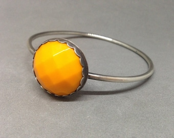 sterling silver and vintage blue faceted glass bangle sterling silver bangle heavy bangle stacking bangle orange bangle white bangle