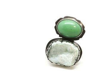 Green druzy ring druzy ring big ring large ring giant ring statement ring green ring