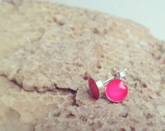 Resin Studs in sterling silver, silver studs, tiny studs, colorful studs, silver stud earrings