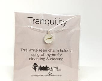 SALE Tranquility charm necklace charm necklace white resin and herb charm necklace thyme charm