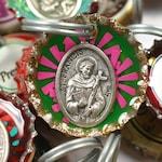 Saint Francis Bottle Cap keyring, dog tag, luggage tag, stocking stuffer, pet tag, gift topper, animal protector, St Christopher, vet gift