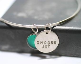 Silver Bangle Bracelet, Personalized, Bridesmaid gift, Mom gift, Charm Bracelet, personalized for mom,  mothers day, stacking bracelet