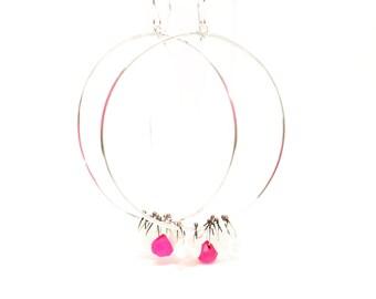 Big hoops giant hoops moonstone hoops hot pink chalcedony hoops sterling silver hoops hoop earrings