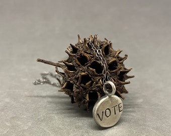 VOTE necklace thick sterling silver pendant sterling silver charm vote charm vote pendant