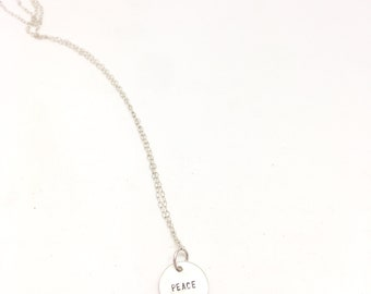 Peace necklace sterling silver necklace meaningful necklace