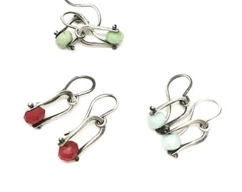 Drop earrings small drop earrings dangle earrings little horseshe earrings jade earrings pearl earrings everyday earrings easy earrings