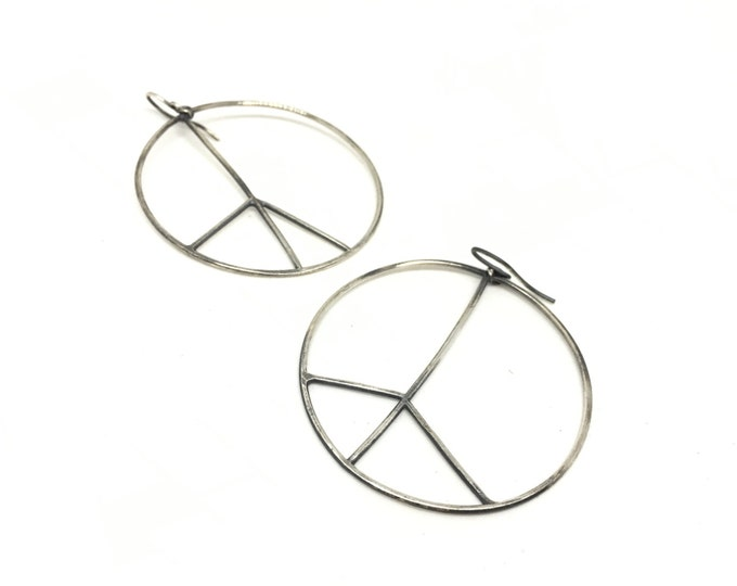 Featured listing image: Hoop earrings peace sign earrings silver peace sign earrings big hoop earrings peace sign hoops silver hoops