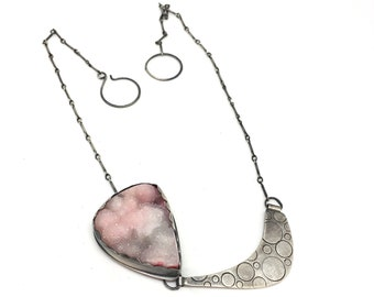 Pink druzy necklace art necklace statement necklace