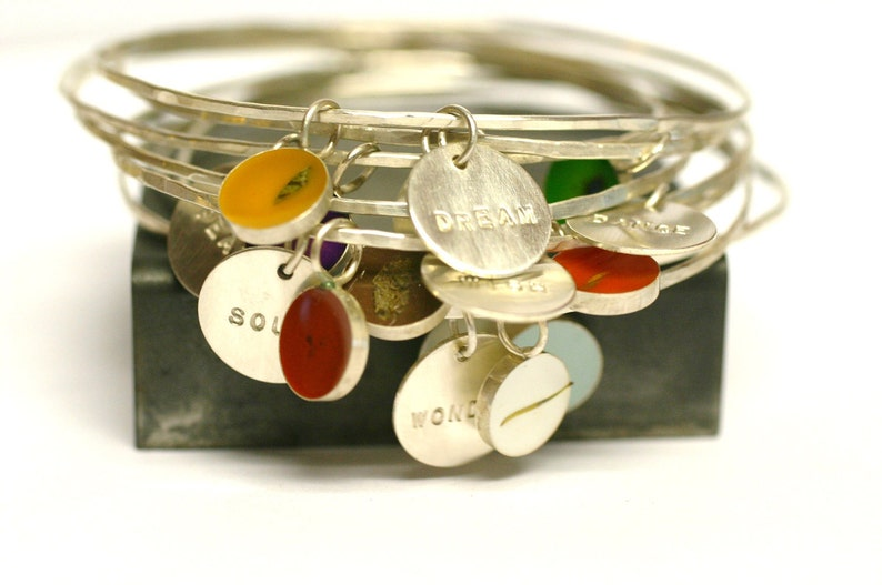 Custom Bangle Charm Bracelet personalized Bridesmaid Gift image 0