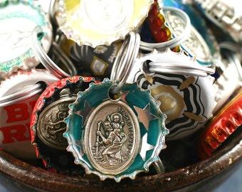 St Christopher Key Ring, Saint Christopher keyring, key chain, luggage tag, bottlecap keyring, protects travelers