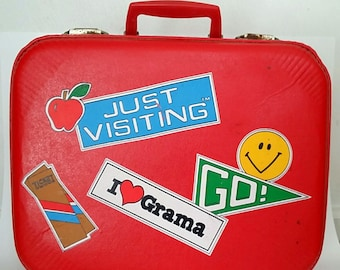 Vintage Child's Suitcase Just Visiting Grama1970s Red Grandma Overnight Bag Luggage