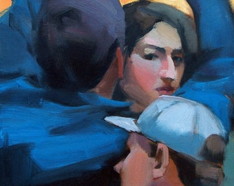 Blue Coat, Demos series, oil on canvas, figurative art direct from artist