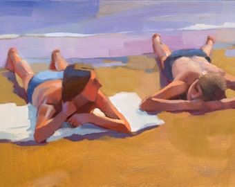 Sea Idyll, oil on canvas, figurative art direct from artist