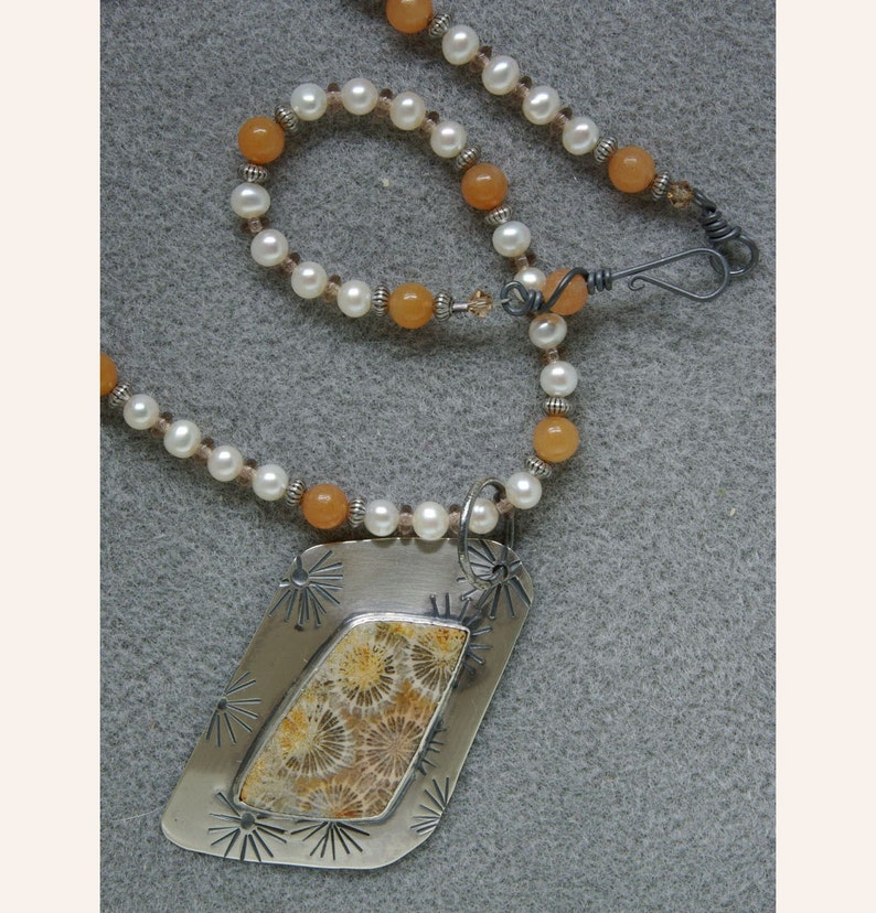 Fireworks necklace with fossil coral silver freshwater image 0