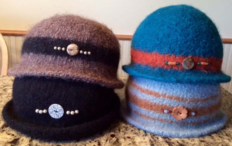 Made-to-order felted bejeweled hat in 100% wool and endless image 0