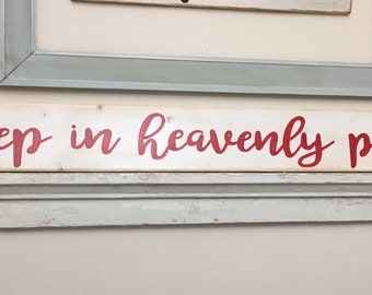 sleep in heavenly peace Large Farm Style Christmas Sign Made in USA