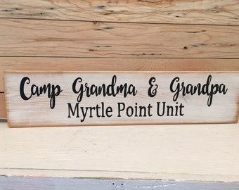 Camp Grandma and Grandpa CUSTOM Personalized SIGN Farmstyle Made in USA