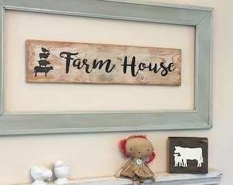 Farm House Sign Farmstyle with Chicken Sheep Pig and Cow
