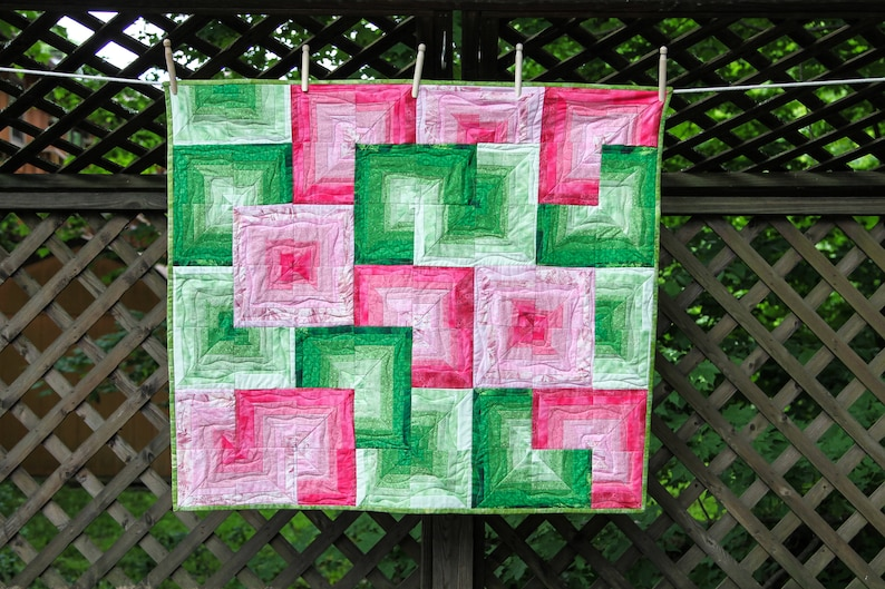 Pink and Green Fresh Sliced Watermelon Quilt by MadeMarion image 0