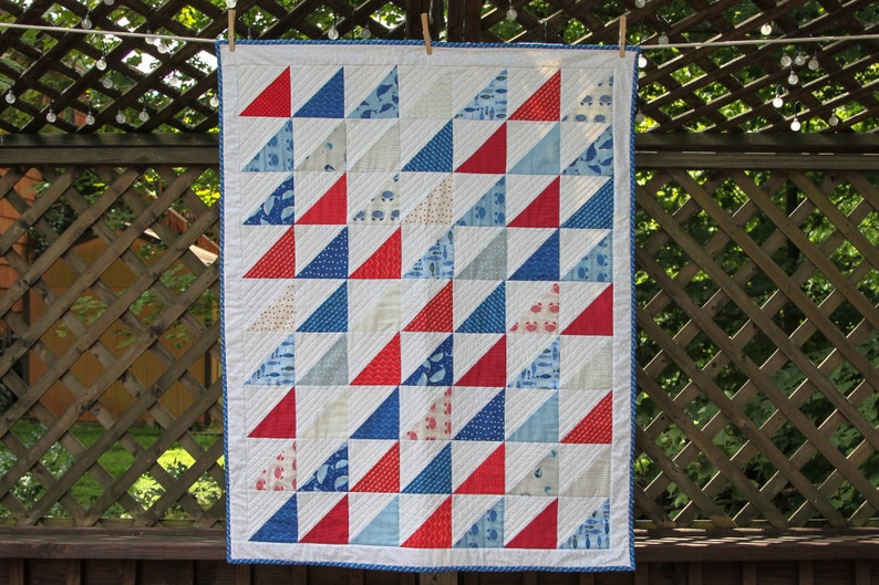 Nautical Red White & Blue Quilt by MadeMarion image 0