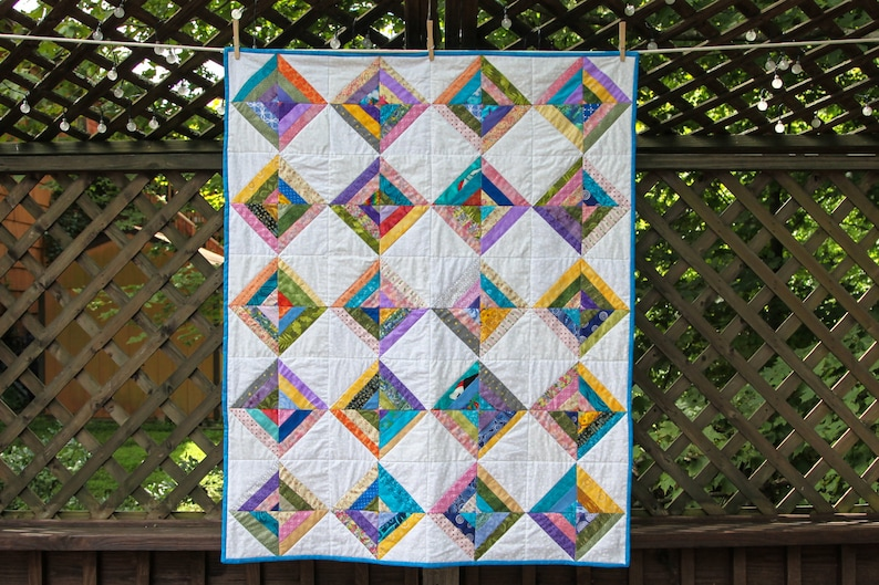 Scrappy Multi-Color Strip Quilt by MadeMarion image 0