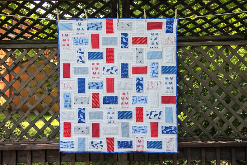 Nautical Red White & Blue Rectangles Quilt by MadeMarion image 0