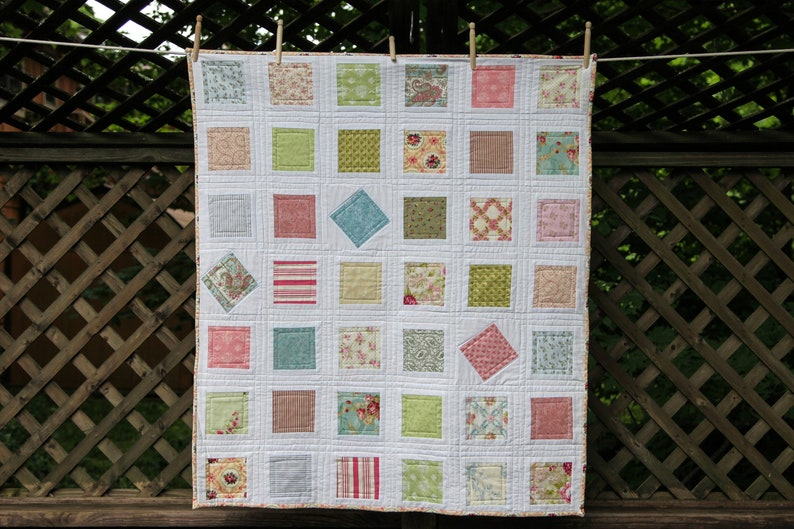 Patchwork Squares and Diamonds Quilt by MadeMarion image 0