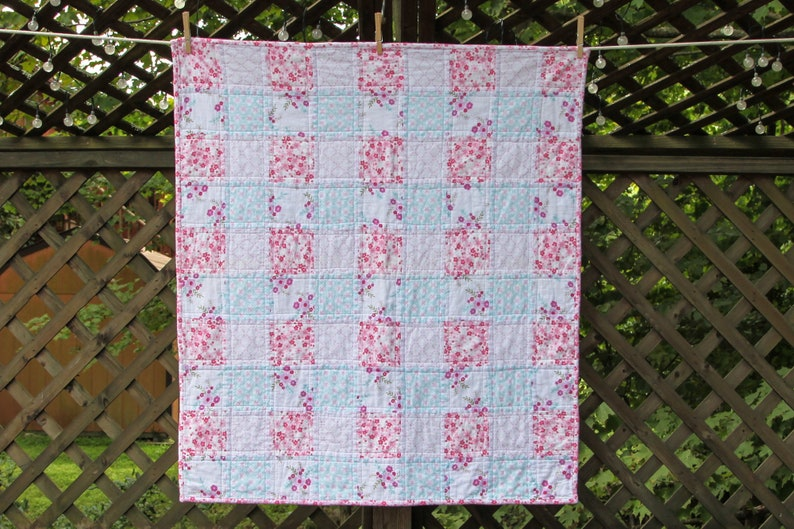 Pink Floral Flannel Quilt by Made Marion image 0