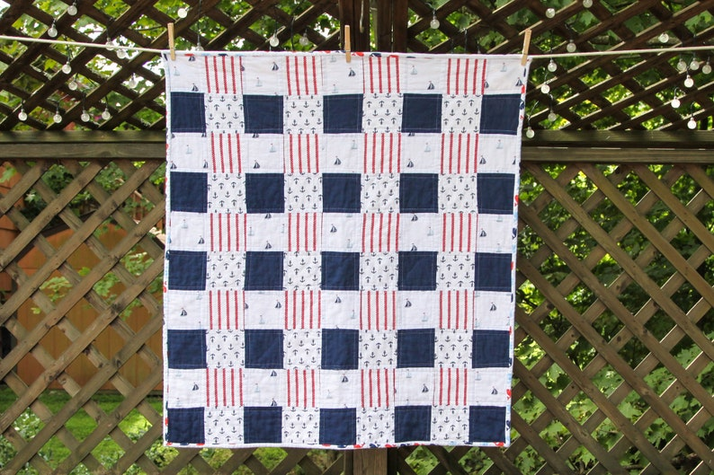 Nautical Red White & Blue Flannel Quilt by MadeMarion image 0