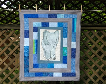 Blue Elephant Quilt by Made Marion