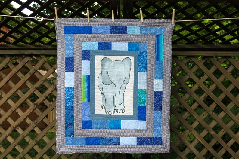 Elephant Quilt in Blue and Gray by MadeMarion image 0