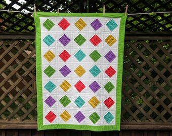 Quilt with Diamond Shapes by Made Marion