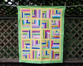 Colorful Scrappy Quilt by Made Marion